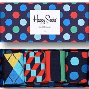 Happy Socks Men's Big Dot 4 Pack Gift Box